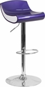Contemporary Blue-Purple and White Adjustable Height Plastic Barstool with Chrome Base [CH-101010-BL-GG]