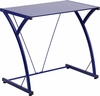 Contemporary Tempered Blue Glass Computer Desk with Matching Frame [NAN-WK-SD-02-BLUE-GG]