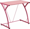 Contemporary Tempered Pink Glass Computer Desk with Matching Frame [NAN-WK-SD-02-PINK-GG]