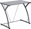 Contemporary Tempered Silver Glass Computer Desk with Matching Frame [NAN-WK-SD-02-SIL-GG]