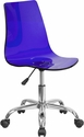 Contemporary Transparent Blue Acrylic Task Chair with Chrome Base [CH-98018-BL-GG]