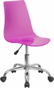 Contemporary Transparent Hot Pink Acrylic Task Chair with Chrome Base [CH-98018-HT-PK-GG]