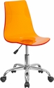 Contemporary Transparent Orange Acrylic Task Chair with Chrome Base [CH-98018-OR-GG]