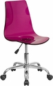Contemporary Transparent Purple Acrylic Task Chair with Chrome Base [CH-98018-PUR-GG]