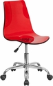 Contemporary Transparent Red Acrylic Task Chair with Chrome Base [CH-98018-RED-GG]