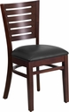Darby Series Slat Back Walnut Wooden Restaurant Chair - Black Vinyl Seat [XU-DG-W0108-WAL-BLKV-GG]
