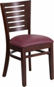 Darby Series Slat Back Walnut Wooden Restaurant Chair - Burgundy Vinyl Seat [XU-DG-W0108-WAL-BURV-GG]