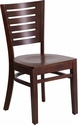 Darby Series Slat Back Walnut Wooden Restaurant Chair [XU-DG-W0108-WAL-WAL-GG]