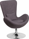 Egg Series Dark Gray Fabric Side Reception Chair [CH-162430-DKGY-FAB-GG]