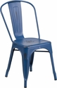 Distressed Antique Blue Metal Indoor-Outdoor Stackable Chair [ET-3534-AB-GG]