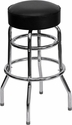Double Ring Chrome Barstool with Black Seat [XU-D-100-GG]