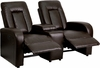 Eclipse Series 2-Seat Push Button Motorized Reclining Brown Leather Theater Seating Unit with Cup Holders [BT-70259-2-P-BRN-GG]