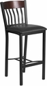 Eclipse Series Vertical Back Black Metal and Walnut Wood Restaurant Barstool with Black Vinyl Seat [XU-DG-60618B-WAL-BLKV-GG]