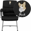 Embroidered Black Leather Executive Side Chair [H-9637L-3-SIDE-EMB-GG]