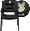 Embroidered Black Leather Executive Side Chair with Titanium Frame Finish [BT-1404-BKGY-EMB-GG]
