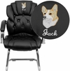 Embroidered Black Leather Transitional Side Chair with Padded Arms and Sled Base [GO-908V-BK-SIDE-EMB-GG]