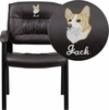 Embroidered Brown Leather Executive Side Chair with Black Frame Finish [BT-1404-BN-EMB-GG]