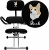 Embroidered Ergonomic Kneeling Chair in Black Fabric with Back and Handles [WL-3439-EMB-GG]