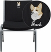 Embroidered HERCULES Series 1000 lb. Capacity Big and Tall Extra Wide Black Fabric Stack Chair with Ganging Bracket [XU-60555-BK-EMB-GG]