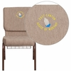 Embroidered HERCULES Series 18.5''W Beige Fabric Church Chair with 4.25'' Thick Seat, Book Rack - Copper Vein Frame [FD-CH02185-CV-BGE1-BAS-EMB-GG]