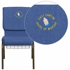 Embroidered HERCULES Series 18.5''W Blue Fabric Church Chair with 4.25'' Thick Seat, Cup Book Rack - Gold Vein Frame [FD-CH02185-GV-BLUE-BAS-EMB-GG]