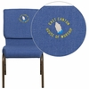 Embroidered HERCULES Series 18.5''W Blue Fabric Stacking Church Chair with 4.25'' Thick Seat - Gold Vein Frame [FD-CH02185-GV-BLUE-EMB-GG]