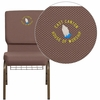 Embroidered HERCULES Series 18.5''W Brown Dot Fabric Church Chair with 4.25'' Thick Seat, Book Rack - Gold Vein Frame [FD-CH02185-GV-BNDOT-BAS-EMB-GG]