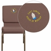 Embroidered HERCULES Series 18.5''W Brown Dot Fabric Stacking Church Chair with 4.25'' Thick Seat - Gold Vein Frame [FD-CH02185-GV-BNDOT-EMB-GG]