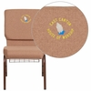 Embroidered HERCULES Series 18.5''W Caramel Fabric Church Chair with 4.25'' Thick Seat, Cup Book Rack - Copper Vein Frame [FD-CH02185-CV-BN-BAS-EMB-GG]