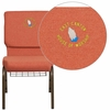 Embroidered HERCULES Series 18.5''W Cinnamon Fabric Church Chair with 4.25'' Thick Seat, Book Rack - Gold Vein Frame [FD-CH02185-GV-CIN-BAS-EMB-GG]
