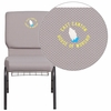 Embroidered HERCULES Series 18.5''W Gray Dot Fabric Church Chair with 4.25'' Thick Seat, Book Rack - Silver Vein Frame [FD-CH02185-SV-GYDOT-BAS-EMB-GG]