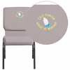 Embroidered HERCULES Series 18.5''W Gray Dot Fabric Stacking Church Chair with 4.25'' Thick Seat - Silver Vein Frame [FD-CH02185-SV-GYDOT-EMB-GG]
