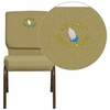 Embroidered HERCULES Series 18.5''W Moss Green Fabric Stacking Church Chair with 4.25'' Thick Seat - Gold Vein Frame [FD-CH02185-GV-GN-EMB-GG]