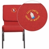 Embroidered HERCULES Series 18.5''W Red Fabric Stacking Church Chair with 4.25'' Thick Seat - Silver Vein Frame [FD-CH02185-SV-RED-EMB-GG]