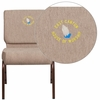 Embroidered HERCULES Series 21'' Extra Wide Beige Fabric Stacking Church Chair with 4'' Thick Seat - Copper Vein Frame [FD-CH0221-4-CV-BGE1-EMB-GG]