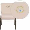 Embroidered HERCULES Series 21'' Extra Wide Beige Fabric Stacking Church Chair with 4'' Thick Seat - Gold Vein Frame [FD-CH0221-4-GV-B2-EMB-GG]