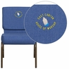 Embroidered HERCULES Series 21'' Extra Wide Blue Fabric Stacking Church Chair with 4'' Thick Seat - Gold Vein Frame [FD-CH0221-4-GV-BLUE-EMB-GG]