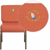 Embroidered HERCULES Series 21'' Extra Wide Cinnamon Fabric Stacking Church Chair with 4'' Thick Seat - Gold Vein Frame [FD-CH0221-4-GV-CIN-EMB-GG]