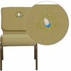 Embroidered HERCULES Series 21'' Extra Wide Moss Green Fabric Stacking Church Chair with 4'' Thick Seat - Gold Vein Frame [FD-CH0221-4-GV-GN-EMB-GG]