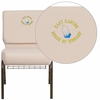 Embroidered HERCULES Series 21'' Wide Beige Fabric Church Chair with 4'' Thick Seat, Cup Book Rack - Gold Vein Frame [FD-CH0221-4-GV-B2-BAS-EMB-GG]