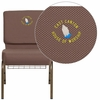 Embroidered HERCULES Series 21'' Wide Brown Dot Fabric Church Chair with 4'' Thick Seat, Book Rack - Gold Vein Frame [FD-CH0221-4-GV-BNDOT-BAS-EMB-GG]