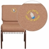 Embroidered HERCULES Series 21'' Wide Caramel Fabric Church Chair with 4'' Thick Seat, Cup Book Rack - Copper Vein Frame [FD-CH0221-4-CV-BN-BAS-EMB-GG]