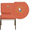 Embroidered HERCULES Series 21'' Wide Cinnamon Fabric Church Chair with 4'' Thick Seat, Book Rack - Gold Vein Frame [FD-CH0221-4-GV-CIN-BAS-EMB-GG]