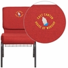 Embroidered HERCULES Series 21'' Wide Crimson Fabric Church Chair with 4'' Thick Seat, Cup Book Rack - Silver Vein Frame [FD-CH0221-4-SV-RED-BAS-EMB-GG]