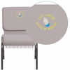 Embroidered HERCULES Series 21'' Wide Gray Dot Fabric Church Chair with 4'' Thick Seat, Book Rack - Silver Vein Frame [FD-CH0221-4-SV-GYDOT-BAS-EMB-GG]