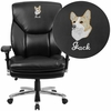 Embroidered HERCULES Series 24/7 Intensive Use, Multi-Shift, Big & Tall 400 lb. Capacity Black Leather Executive Swivel Chair with Lumbar Support Knob [GO-2085-LEA-EMB-GG]