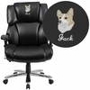 Embroidered HERCULES Series 24/7 Intensive Use, Multi-Shift, Big & Tall 400 lb. Capacity Black Leather Executive Swivel Chair with Lumbar Support Knob [GO-2149-LEA-EMB-GG]