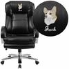 Embroidered HERCULES Series 24/7 Intensive Use, Multi-Shift, Big & Tall 500 lb. Capacity Black Leather Executive Swivel Chair with Loop Arms [GO-2078-LEA-EMB-GG]