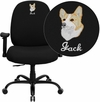 Embroidered HERCULES Series 400 lb. Capacity Big & Tall Black Fabric Executive Swivel Office Chair with Extra WIDE Seat and Height Adjustable Arms [WL-715MG-BK-A-EMB-GG]
