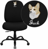 Embroidered HERCULES Series 400 lb. Capacity Big & Tall Black Fabric Executive Swivel Office Chair with Extra WIDE Seat [WL-715MG-BK-EMB-GG]